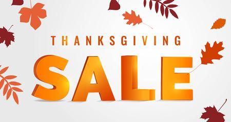 Thanksgiving day sale autumn background. Vector illustration
