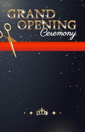 Grand opening sparkling banner with gold text and red ribbon. Elegant style. Vector Illustration Ilustração