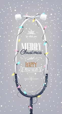 Merry christmas and Happy new year holiday medical background with stethoscope, christmas lights and snowflakes. Vector illustration
