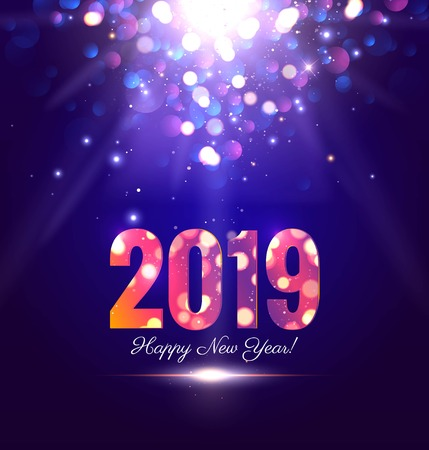 Happy new year 2019 sparkling background with magic lights. Vector illustration