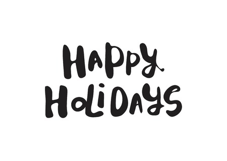 Happy holidays lettering design. Vector illustration