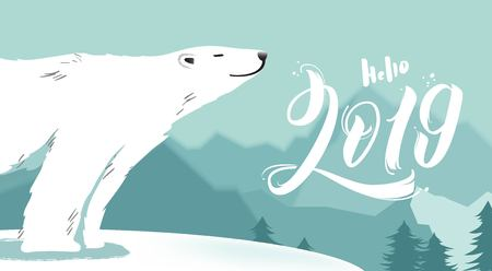 Hello 2019 illustration. Merry Christmas and Happy New Year vector background with cute bear and typographic design. Winter cartoon illustration Imagens - 127589691