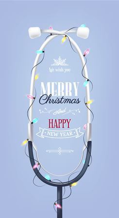 Merry christmas and Happy new year holiday medical background with stethoscope and christmas lights. Vector illustration