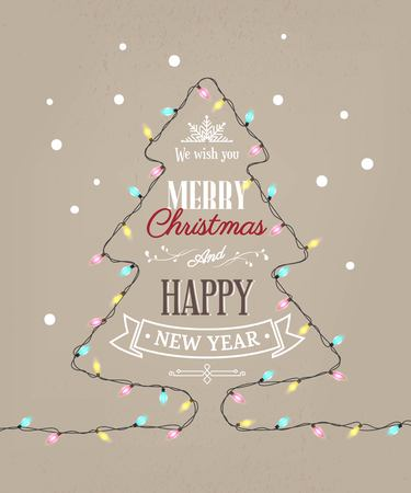 Merry Christmas and Happy new year text in the shape of tree with light bulbs. Winter vector illustration