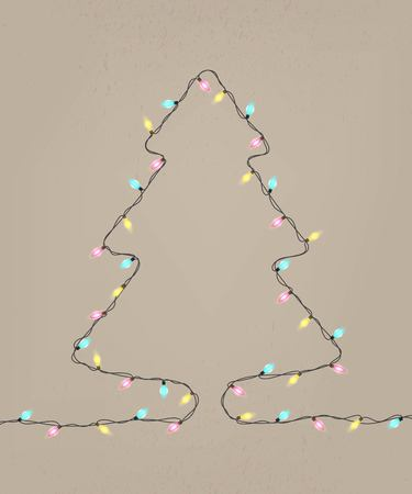 Christmas lights in the shape of tree. Happy holidays greeting card. Winter vector illustration
