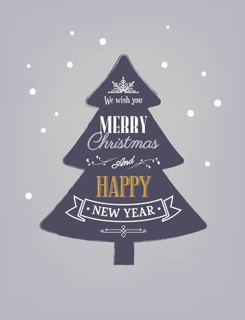 Merry Christmas and Happy new year text in the shape of tree. Winter vector illustration