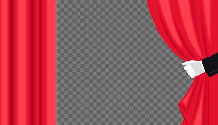 Hand in white glove open red curtain. Vector illustration Foto de archivo - 133739179