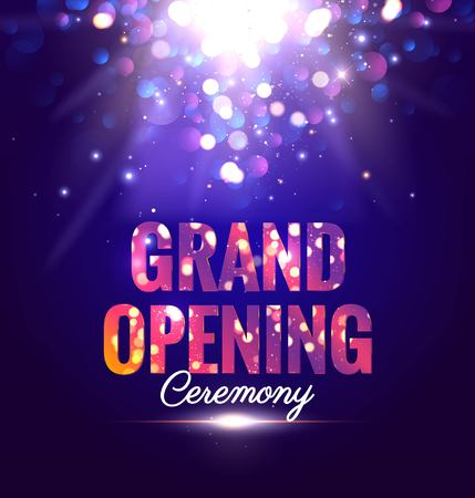Grand opening sparkling poster with magic lights. Vector illustration