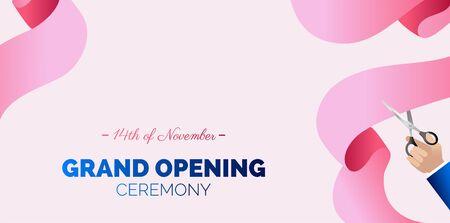 Grand opening horizontal banner. Hand holding scissors and cutting pink ribbon.   Vector Illustration Illusztráció