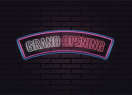 Grand opening neon poster. Vector illustration.  イラスト・ベクター素材
