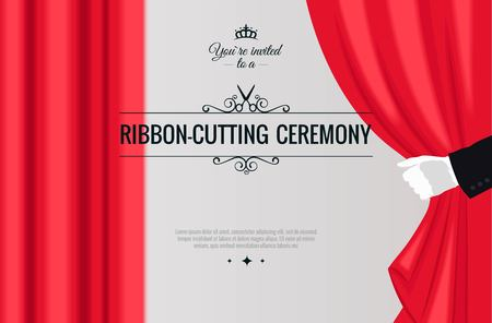Grand opening poster with white glove and red curtains. Vector illustration Ilustração