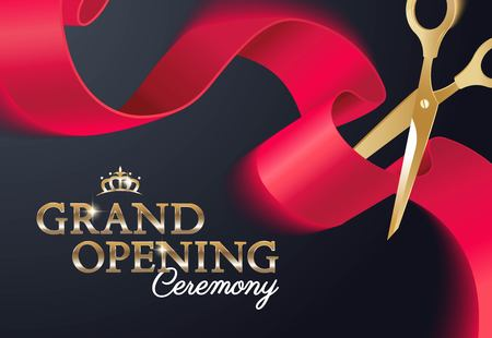 Grand opening ceremony poster with curving ribbon and gold scissors. Vector illustration Ilustração