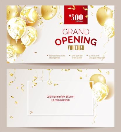 Grand open voucher templates. Beautiful holiday background with golden balloons and confetti. Voucher discount. Vector illustration