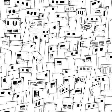 Seamless pattern of slum city in black and white. Vector background