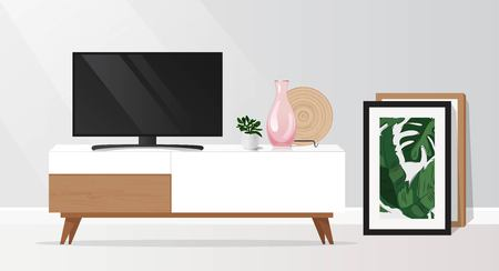 Tv cabinet in modern living room. Vector illustration Ilustração