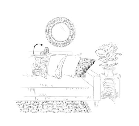Living room interior with sofa, table, books, mirror and plant. Vector sketch illustration Ilustração