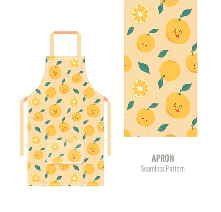 Kitchen apron with cute orange pattern. Vector illustration