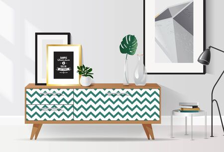 Wooden sideboard with plants and posters on it against white wall. Modern interior with tropical elements and geometric patterns. Vector illustration