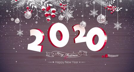 Happy new year 2020 Text Design. 2020 3d vector illustration. Happy holidays banner with snowflakes and Christmas decoration isolated on wooden background. Greeting card.