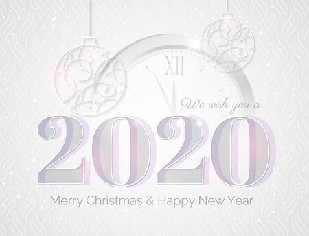 2020 Happy new year greeting card with numbers 2020, clock and Christmas baubles. Elegant Christmas silver background. Vector illustration. Vectores
