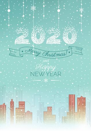2020 Happy New Year holiday card. Christmas greeting card with winter urban landscape and snowy streets. Vector illustration Ilustracja