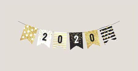 New year 2020 festive bunting flags with white, black and gold patterns. Vector illustration