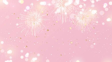 Festive background with fireworks and lights in pink and gold colors. Vector illustration