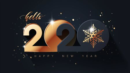 Happy new year 2020 holiday background with 3d numbers 2020 in black and gold colors. Vector illustration Vectores