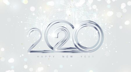 Happy new year 2020 holiday background with 3d numbers 2020, fireworks and Christmas lights in silver colors. Vector illustration