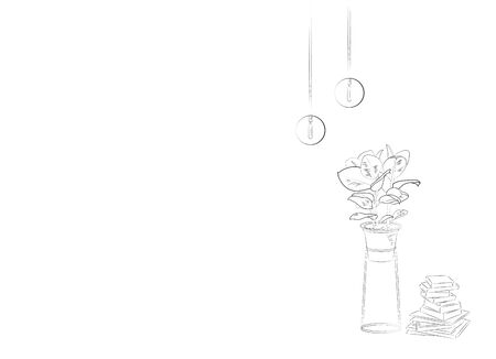 Empty white interior with flower and books. Vector sketch illustration Çizim
