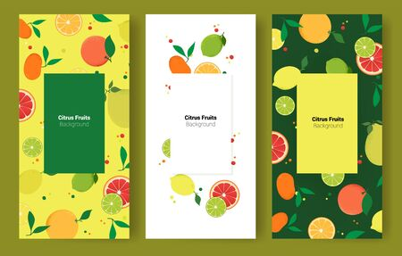Fruits citrus brochure cover design. Colorful natural banners. Vector illustration