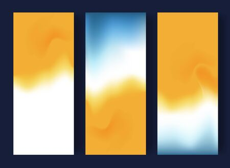 Abstract blurred banners in blue, white and yellow colors. Summer concept. Vector illustration