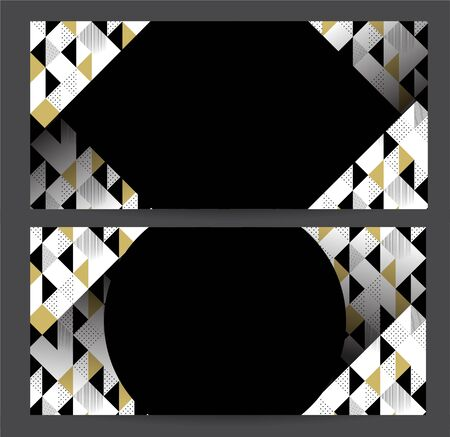 Vouchers, Banners Templates with Geometric Black, Gold and White Pattern with Rhombus, Lines and Dots. Vector illustration Çizim