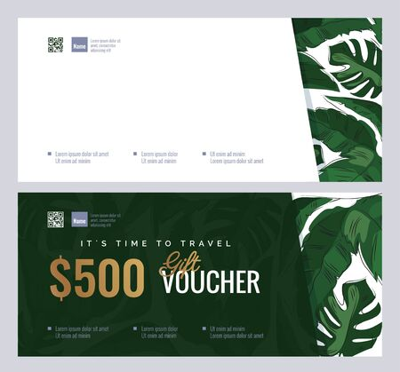 Gift voucher templates with tropical plant leaves. Summer, spa, resort concept. Vector illustration  イラスト・ベクター素材