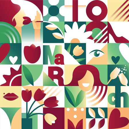Seamless red and green spring  pattern for 8 march women`s day celebration with holiday symbols in geometric style. Vector illustration