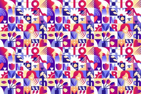 Seamless purple pattern for 8 march women`s day celebration with holiday symbols in geometric style. Vector illustration Çizim