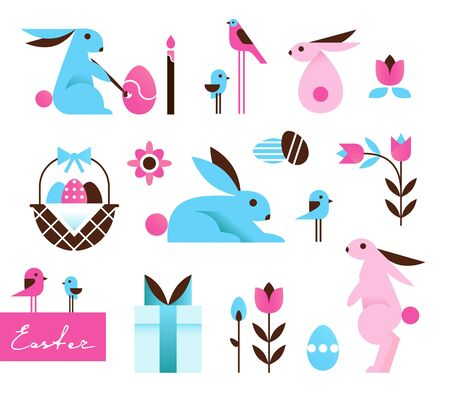 Bright Colorful Easter Icons, Main Symbols in Cartoon Geometric Style. Vector Illustration Çizim