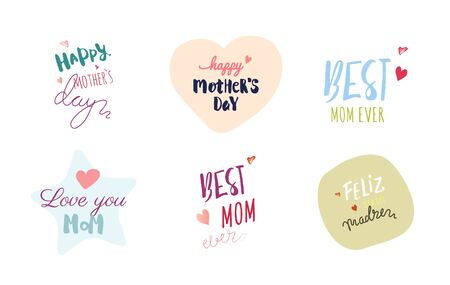 Happy Mother`s Day Typographic Emblems and Badges Set. Vector Design Elements For Greeting Cards Çizim