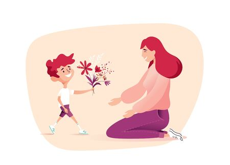 Vector Illustration Of Happy Mother  Receiving Flowers from Her Son.  Happy Mother`s Day Greeting Card.