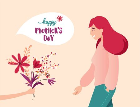 Vector Illustration Of Happy Mother  Receiving Flowers from Her Child.  Happy Mother`s Day Greeting Card.