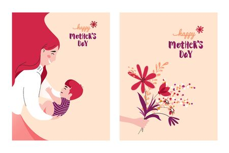 Happy Mother`s Day Greeting Cards. Vector Illustration Of Mother Holding Baby Son In Arms.