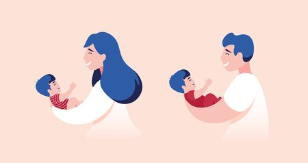 Vector Illustration Of Mother and Father Holding Baby Son In Arms.  Illusztráció