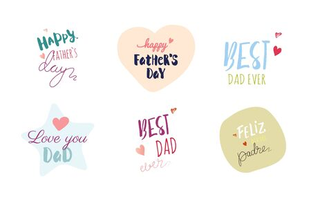 Happy Father`s Day Typographic Emblems and Badges Set. Vector Design Elements For Greeting Cards