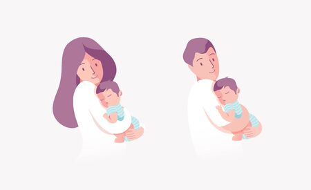 Vector Illustration Of Mother and Father Holding Baby Son In Arms.  矢量图像