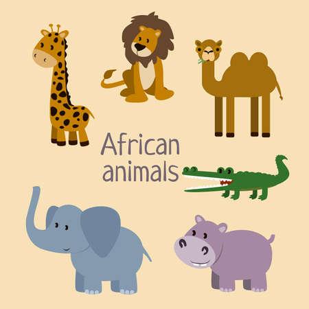 African animals vector illustration Flat animals set Vektorové ilustrace
