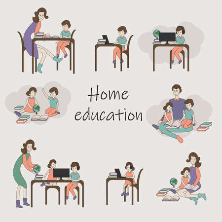 Online education vector illustration home schooling, children study at home, hand-drawn people
