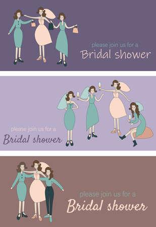 Bridal shower invitation Celebrating bride and bridesmades party flat vector illustration