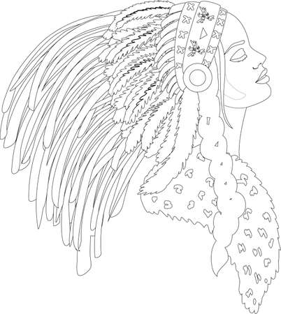Anti stress coloring Beautiful woman portrait line art Ilustración de vector