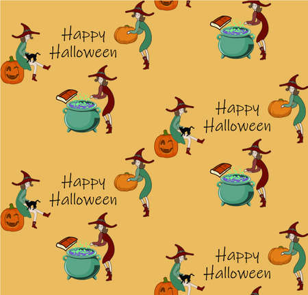 Halloween pattern changeable background vector Cute witch and pumpkin illustration 向量圖像