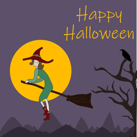 Happy Halloween Witch flying on a broom Fool moon creepy poster design